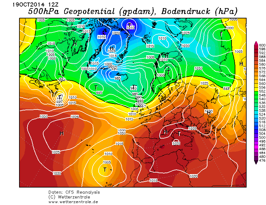 CFS-Reanalysis Surface Pressure and 500 hPa Geopotential Height in Europe 2014-Oct-19